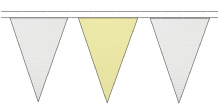 WHITE AND BEIGE TRIANGULAR BUNTING - 10m / 20m / 50m LENGTHS